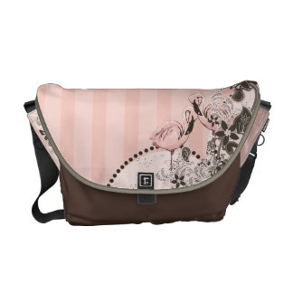Pink Flamingo and Stripes Messenger Bag