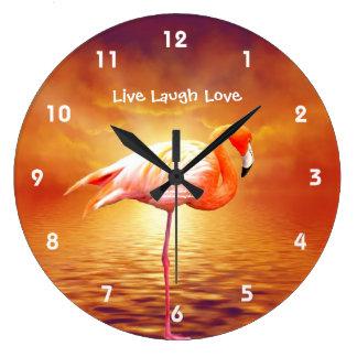 Pink Flamingo Beach Wall Clock