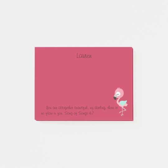 Pink Flamingo Bible Verse Post-it Notes