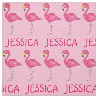 Pink Flamingo Bird Flamingos Personalized Name Fabric