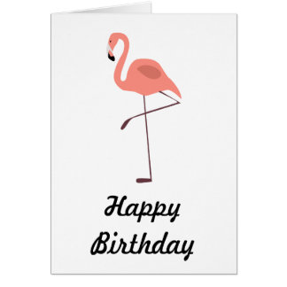 Pink Flamingo Bird Illustration Card