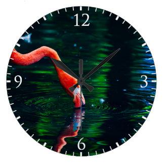 Pink Flamingo Bird In A Magical Green Lake Wall Clocks