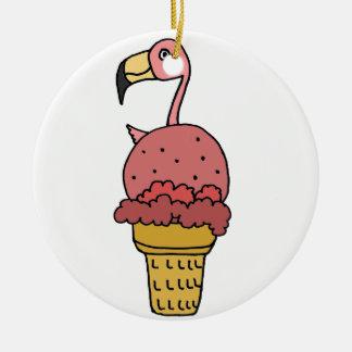 Pink Flamingo Bird in Ice Cream Cone Round Ceramic Ornament