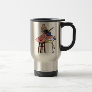 Pink Flamingo Bird Playing Violin Travel Mug