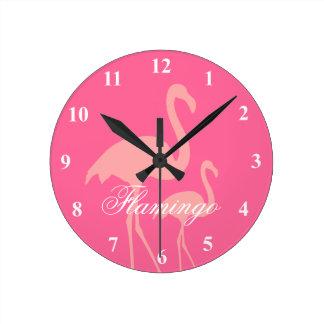 Pink flamingo bird wall clock with custom text
