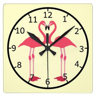 Pink flamingo-birds-love-heart square wall clock
