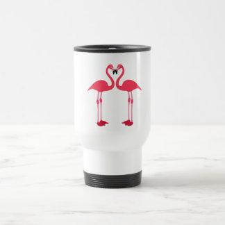 Pink flamingo-birds-love-heart travel mug