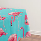 Pink flamingo birds on turquoise background tablecloth