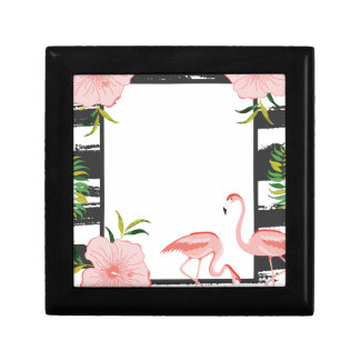 Pink Flamingo Black and White Stripe Gift Box