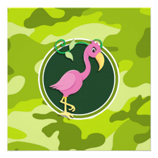 Pink Flamingo; bright green camo, camouflage Personalized Announcement