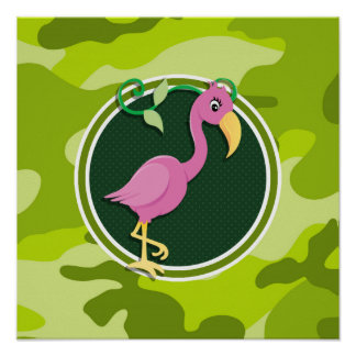 Pink Flamingo; bright green camo, camouflage Print