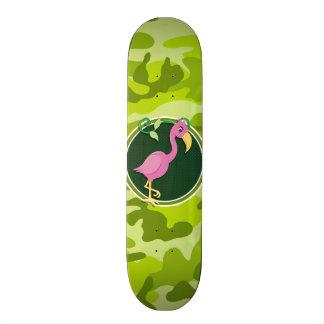 Pink Flamingo bright green camo camouflage Skate Board Deck