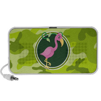 Pink Flamingo; bright green camo, camouflage Travelling Speaker