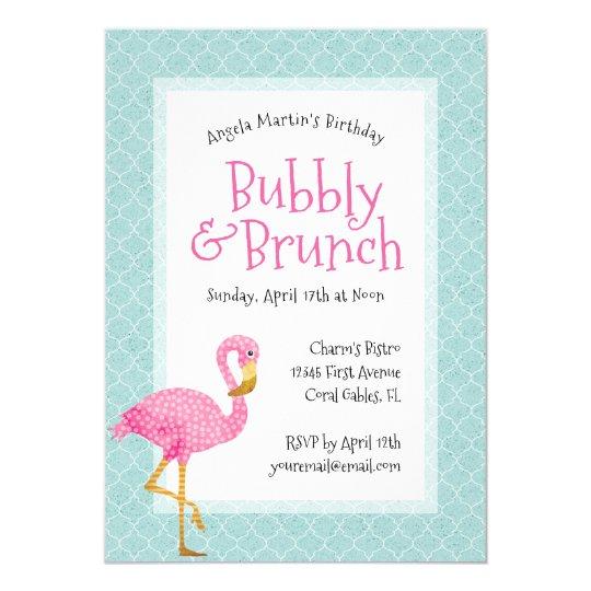 Pink Flamingo Bubbly Birthday Brunch Card