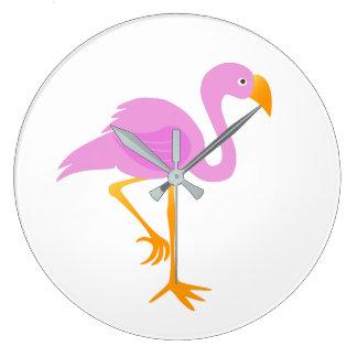 Pink Flamingo Cartoon Large Clock