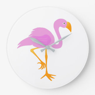 Pink Flamingo Cartoon Wall Clocks