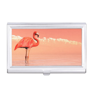Pink flamingo case for business cards
