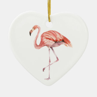 Pink Flamingo Ceramic Heart Ornament