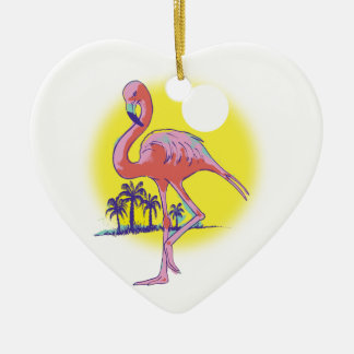 Pink Flamingo Ceramic Ornament