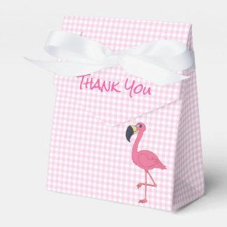 Pink Flamingo & Checks Tent Favor Box