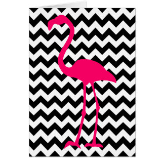 Pink Flamingo Chevron Thank You Card