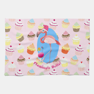Pink Flamingo Christmas Cocktails and Cupcakes Kitchen Towel