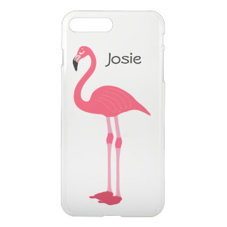 Pink Flamingo Clear Custom Name iPhone 7 Plus Case
