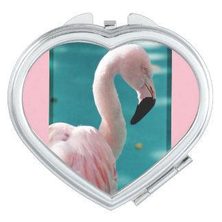 Pink flamingo compact mirror for makeup