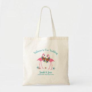 Pink Flamingo Couple Wedding Welcome Guests Bag