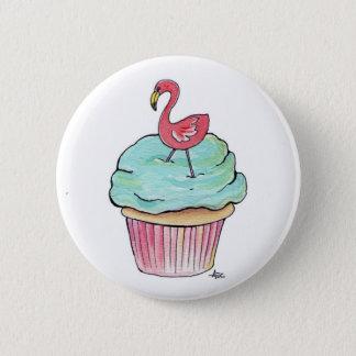 Pink Flamingo Cupcake Retro Dessert! 2 Inch Round Button