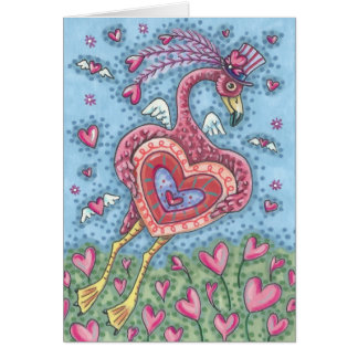 PINK FLAMINGO CUPID VALENTINE NOTE CARD *Customize
