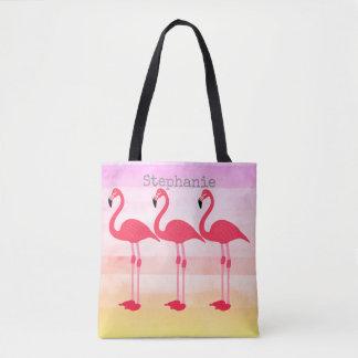 pink flamingo custom tote bag personalize it