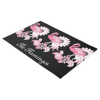 Pink Flamingo Cute Elegant Personalized Black Doormat