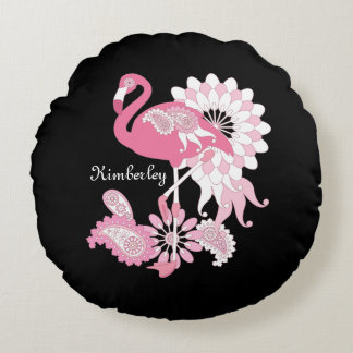 Pink Flamingo Cute Elegant Personalized Black Round Pillow