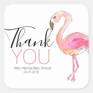 Pink flamingo cute thank you sticker
