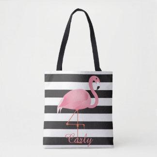 Pink flamingo diaper bag