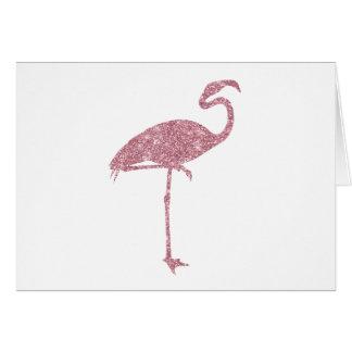 Pink Flamingo Faux Glitter Flamingos Tropical Card