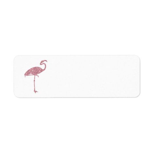 Pink Flamingo Faux Glitter Flamingos Tropical Return Address Label