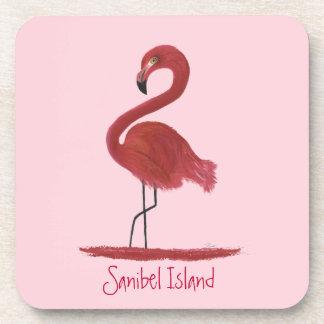 Pink Flamingo Fine Art Painting - Sanibel Island Coaster