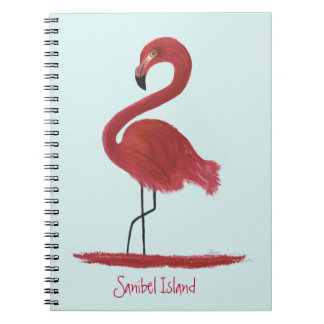 Pink Flamingo Fine Art Painting - Sanibel Island Spiral Notebook