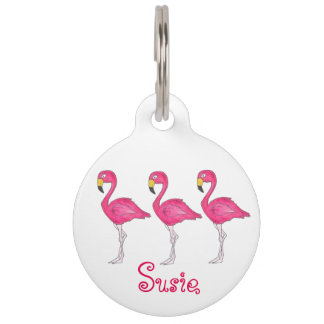 Pink Flamingo Flamingos Bird Personalized Pet Tag
