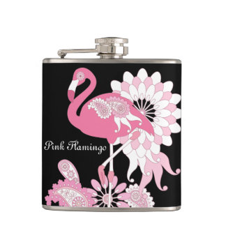 Pink Flamingo Girly Cute Personalized Black Hip Flask