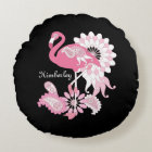 Pink Flamingo Girly Cute Personalized Black Round Pillow