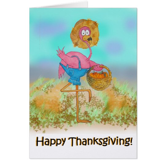 Pink Flamingo Happy Thanksgiving Pumpkin Card
