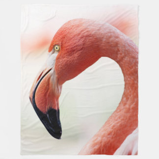 Pink Flamingo Head Fleece Blanket