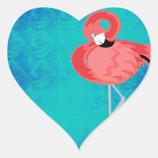 Pink Flamingo Heart Sticker
