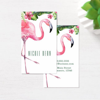 Pink Flamingo & Hibiscus Tropical Floral Leaves Business Card