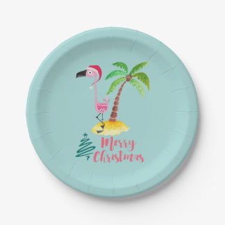 Pink Flamingo In A Santa Hat By A Palm Tree 7 Inch Paper Plate