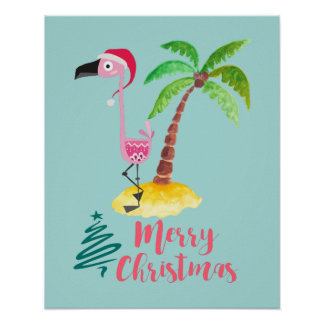 Pink Flamingo In A Santa Hat By A Palm Tree Poster
