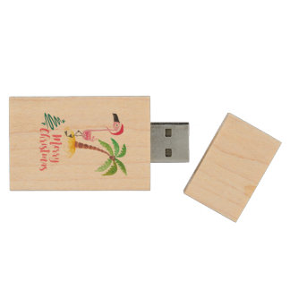 Pink Flamingo In A Santa Hat By A Palm Tree Xmas Wood USB 2.0 Flash Drive